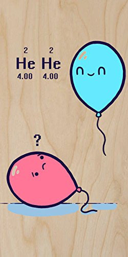 'Helium' Balloon Science Humor - Plywood Wood Print Poster Wall Art