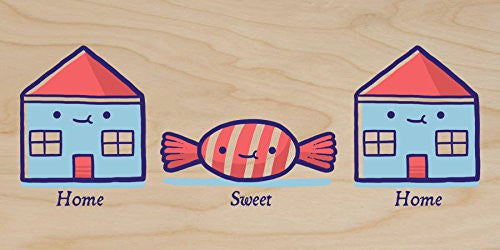 'Home Sweet Home' Candy Houses - Plywood Wood Print Poster Wall Art