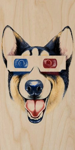 'Corgi 3D' Funny Puppy Dog Wearing 3D Movie Glasses - Plywood Wood Print Poster Wall Art