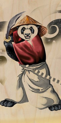 'Panda Warrior' Bear Ninja w/ Sword & Hat - Plywood Wood Print Poster Wall Art