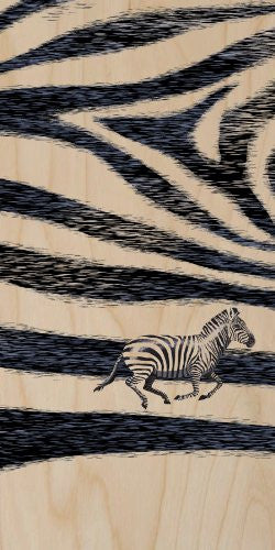 Zebra Skin Pattern Design w/ Running Animal - Plywood Wood Print Poster Wall Art