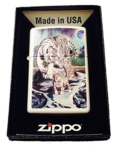 Zippo Custom Lighter - Celestial White Bengal Tigers & Cubs w/ Moon & Stars 214CI017669