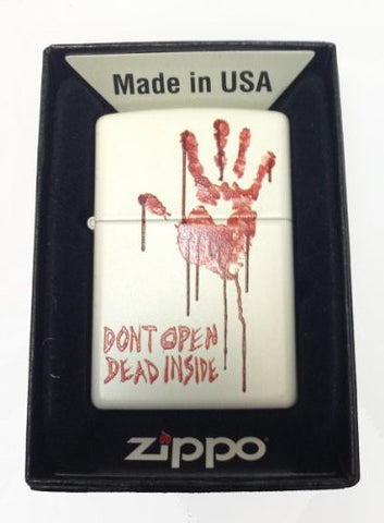 Zippo Custom Lighter - Bloody Dead Zombie Hand Don't Dont Open Dead Inside' White Matte Rare 214CI014192