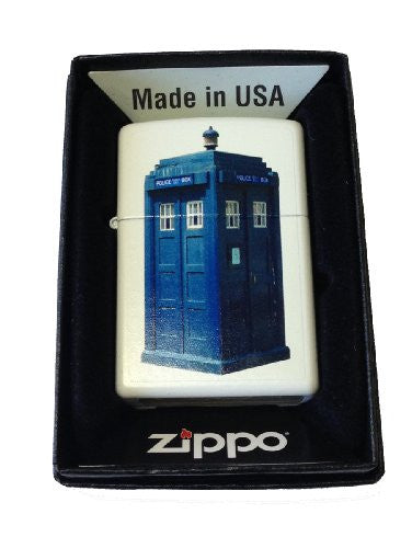 Zippo Custom Lighter - British Blue Tardis Police Box White Matte 214CI015908