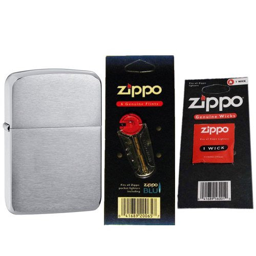 ZIPPO 1941 Replica Brushed Chrome Windproof Lighter with Two Flint Card and One Wick Card