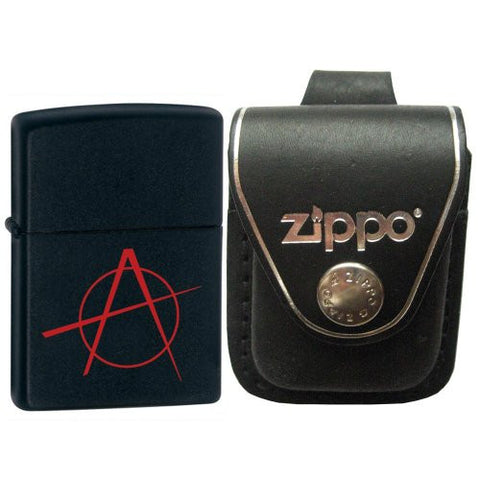 Zippo 20842 Anarchy Black Matte Lighter with Zippo Black Leather Loop Pouch