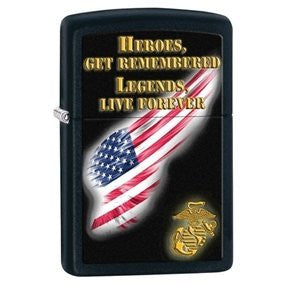 ZIPPO Pocket Lighter Marines Heroes Windproof Lighter, Black Matte