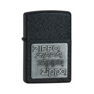 Zippo 2 Pack of Black Crackle, Zippo Pewter Emblem