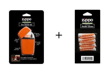 Zippo Outdoor Line Set - Emergency Fire Starter & Pack of Waxed Tinder Sticks