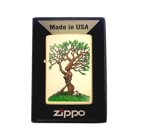 Zippo Custom Lighter - Forest Nymph Tree Woman - Cream Matte
