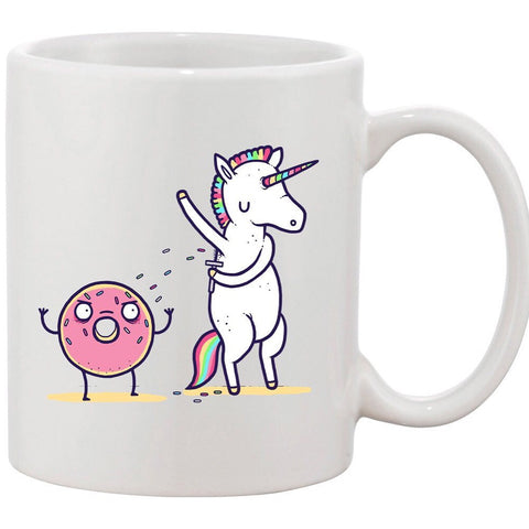 "Ceramic Coffee Mug - ""How Donuts Get Sprinkles""unicorn Shaving Armpits on Doughnut"