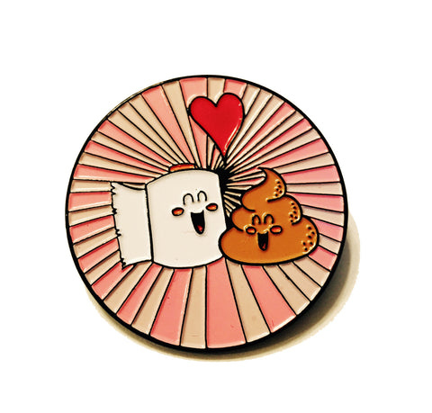 Metal Lapel Pin - Best Friends Poop Poop and Toilet Paper in Love Funny Logo