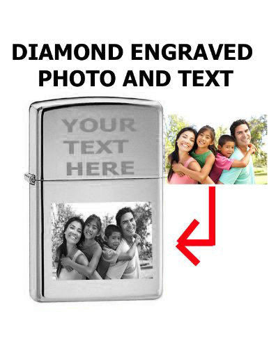 Zippo Custom Lighter - Customize Personalized Engraved Photo High Polish Chrome Silver 250