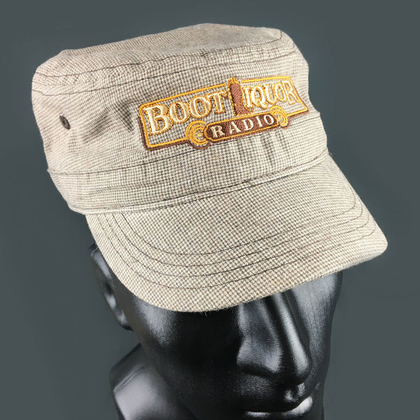 Boot Liquor Hat- Brown & Tan Checked Military Cap