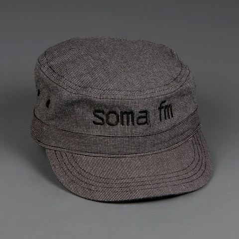"Stealth Gray ""Houndstooth"" Military Hat - SomaFM  - 1"
