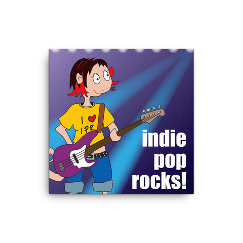 "Indie Pop Rocks! 16x16"" Stretched Canvas Print"
