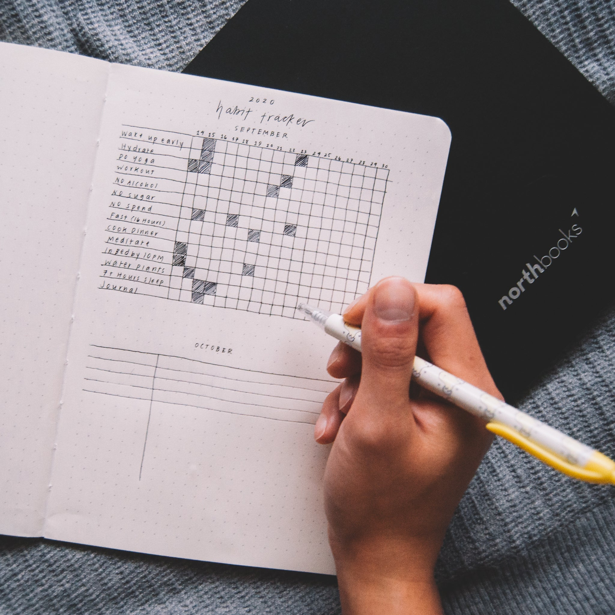 how to build better habits habit tracker bullet journal notebook eco friendly northbooks do more yoga drink water sleep 8 hours