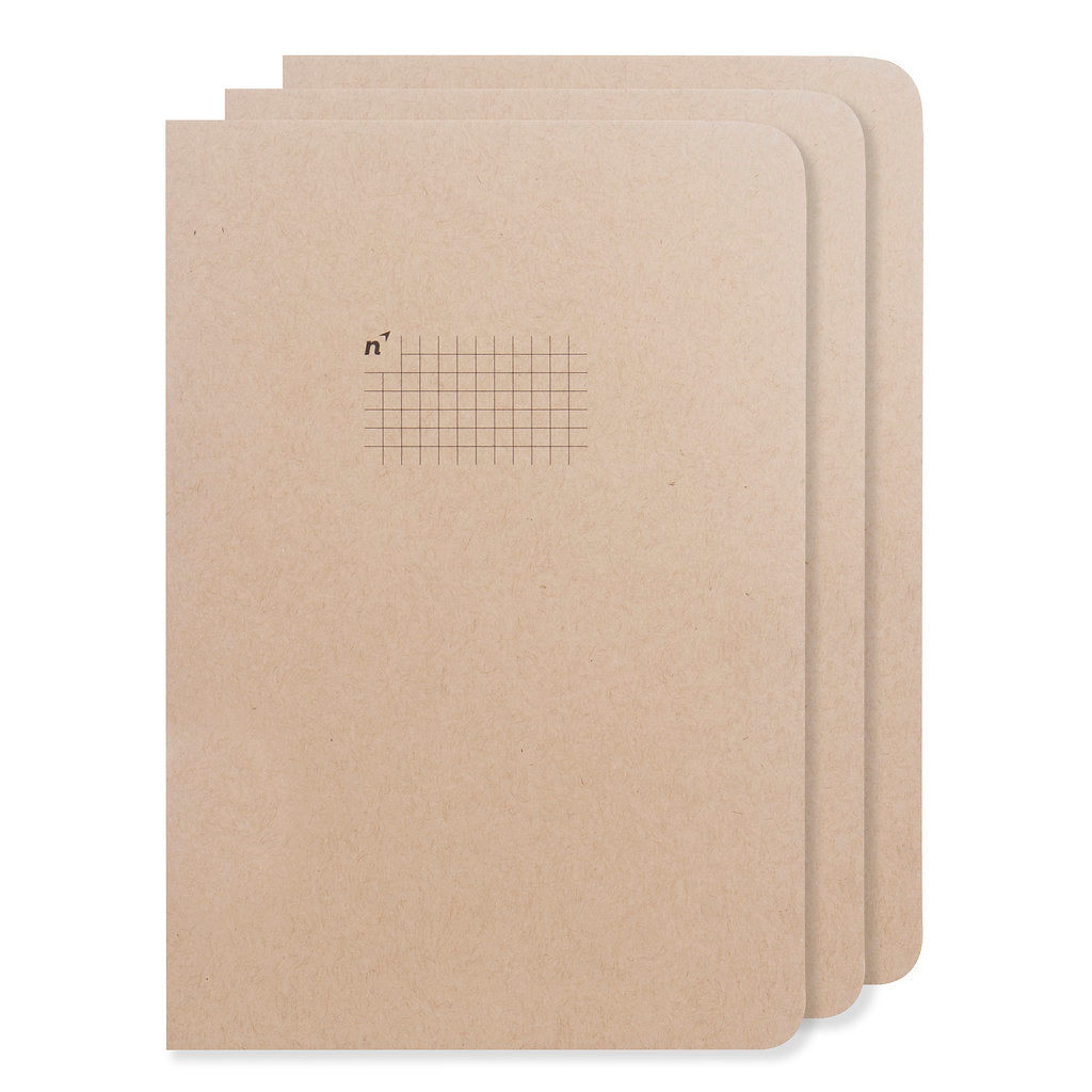 Northbooks 3 pack of B5 Square Grid Graph Notebooks 7 x 10 inch Large | Made in USA