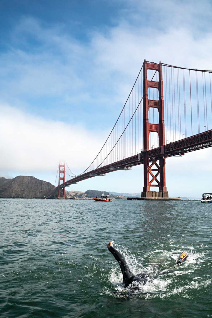 Ben Lecomte swims under the Golden Gate Bridge Copyright Adam Hill