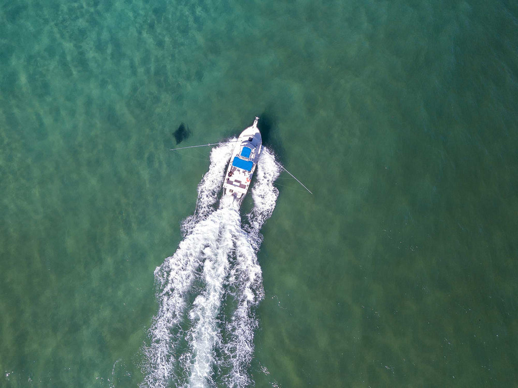 Boat and Manta Ray Copyright Bryant Turffs Drone Image