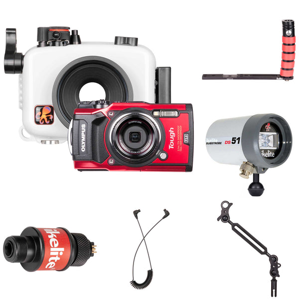 Underwater Housing, Olympus Tough TG-5 Camera and Strobe Deluxe Kit