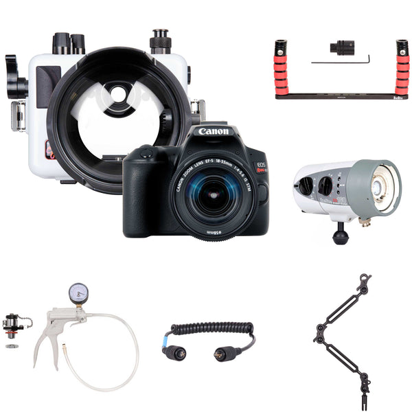 200DLM/C Underwater Housing, Canon Rebel SL3 Camera and Strobe Deluxe Kit