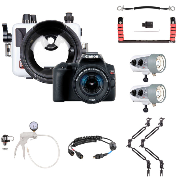 200DLM/C Underwater Housing, Canon Rebel SL3 Camera and Dual Strobe Wide Angle Kit