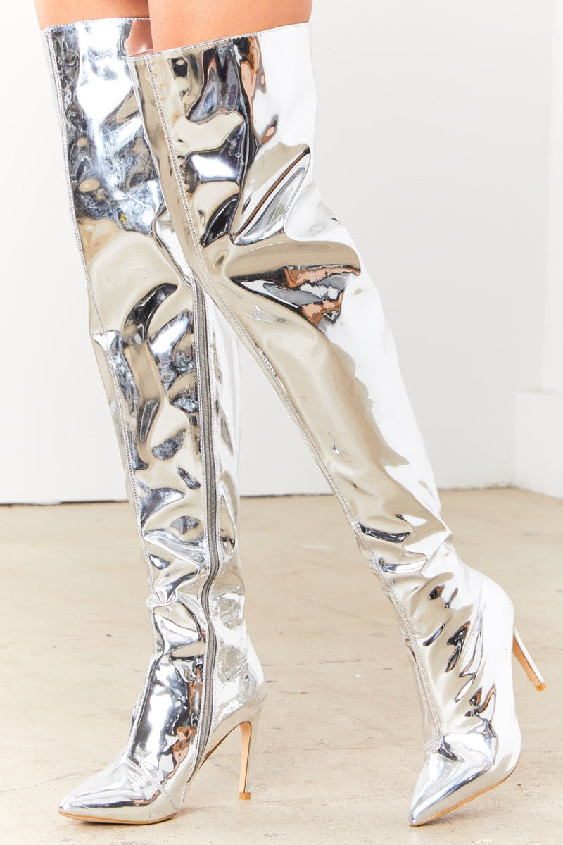 Mirrored Thigh High Boots