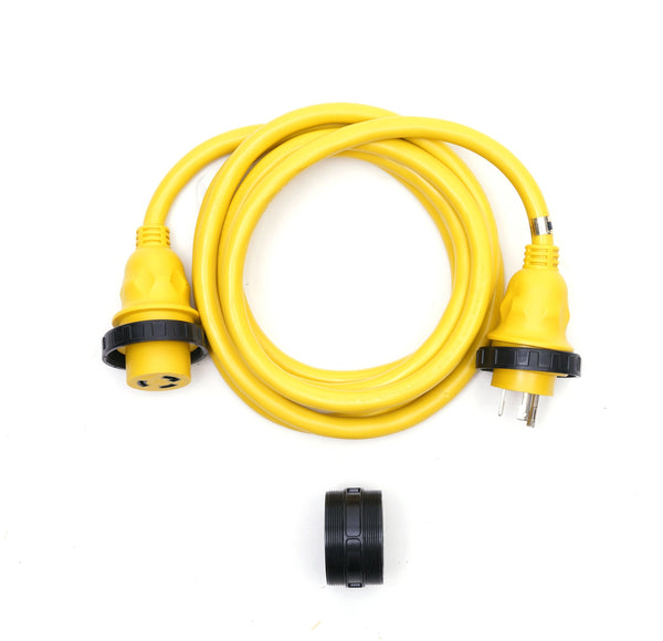 30A 125V Marine Shore Power Boat Cord Cable 12' Yellow