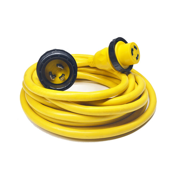 30A 125V Marine Shore Power Boat Cord Cable 25' Yellow - 21312