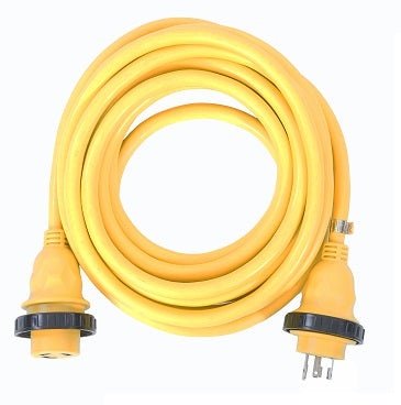 30A 125V Marine Shore Power Boat Cord Cable 50', Yellow