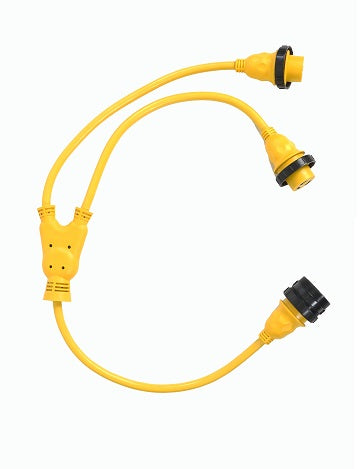 30A 125V Male to (2) 30A 125V Female Yellow Y Marine Splitter Shore Power Boat Adapter - 21323
