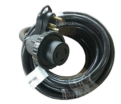 RV 50' Adapter Cord, TT-30 125v 30 amp male  x  Twistlock 30a Female
