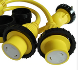 30A 125V Male to (2) 30A 125V Female Yellow Y Marine Splitter Shore Power Boat Adapter