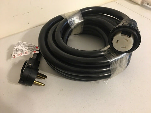 RV 25' Adapter Cord, 125/250v 50a 14-50 x 125/250v 50a SS2-50 Twistlock 50a