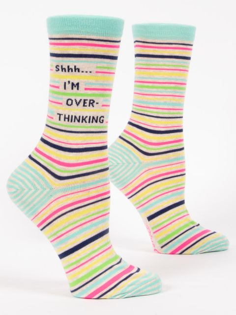 Blue Q Women's Crew Socks - Shhh . . . I'm Over Thinking