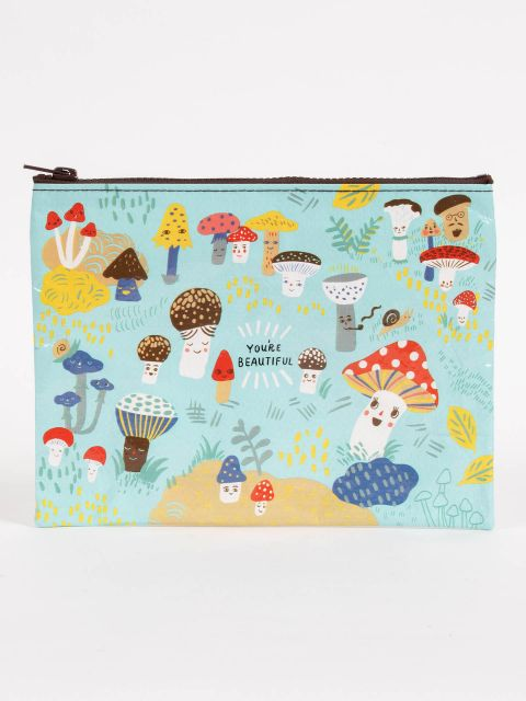 Blue Q Zip Pouch - Cute Lil Mushrooms