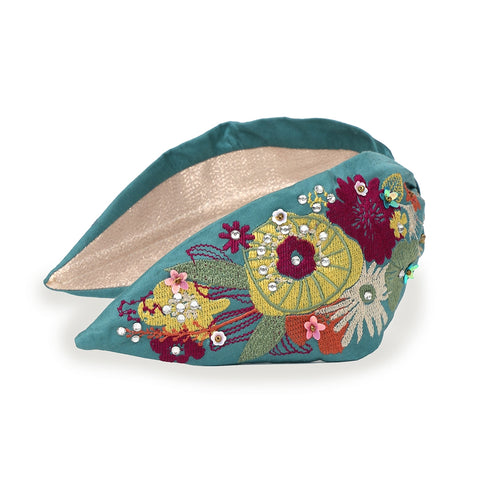 Embroidered Modern Floral Headband - Teal
