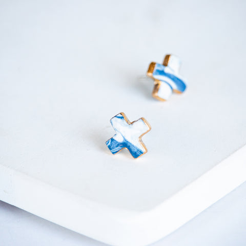 Meredith Stud Earrings - Blue Marble