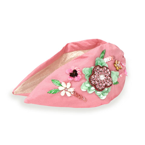 Embroidered Floral Headband - Pink
