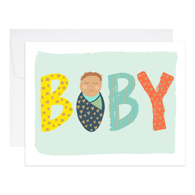 9th Letter Press Card - Baby Swaddled