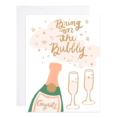 9th Letter Press Card - Champagne Bubbles