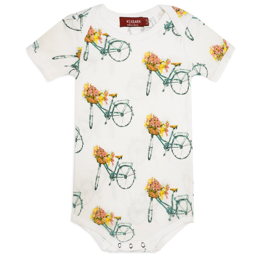 Milkbarn Bamboo One Piece - Floral Bicycle