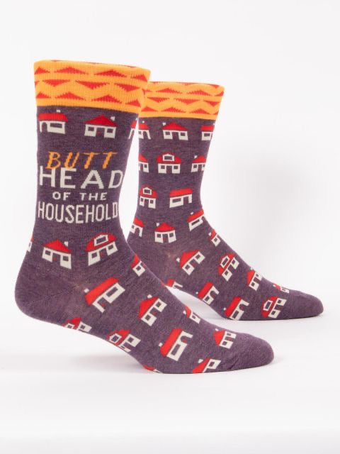 Blue Q Men's Crew Socks - Butthead of the Household