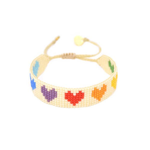 Mishky- Beaded Bracelet- Multi Rainbow Hearts