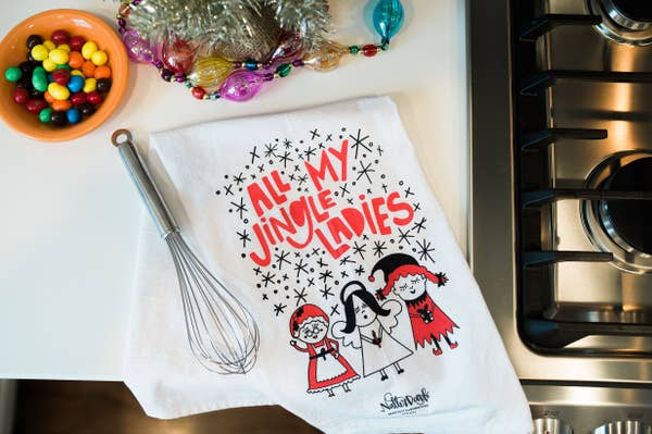 NatterDoodle Dish Towel - Jingle Ladies
