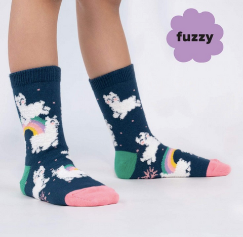Sock It To Me Junior Socks - Llam-where Over the Rainbow (Fuzzy)