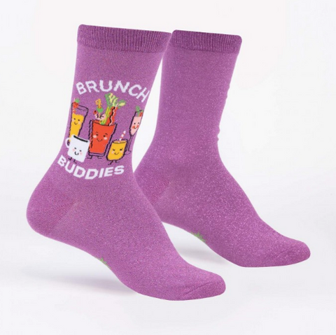Sock It To Me Women's Crew Socks -Brunch Buddies (Shimmer)