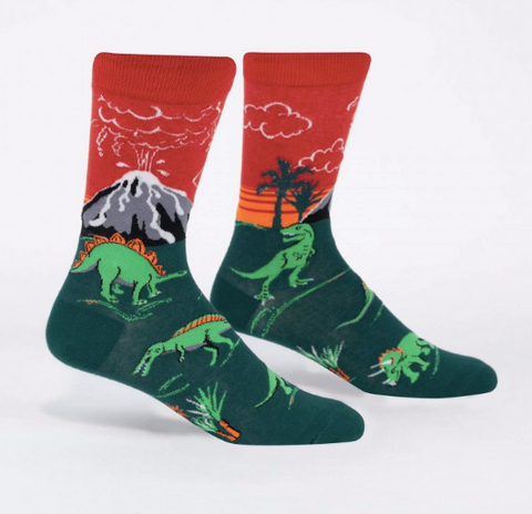 Sock It To Me Men's Crew Socks - Dinosaur Days (Glow)
