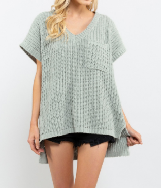 Wanda Short Sleeve Chenille Sweater